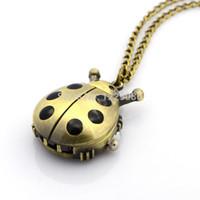 """Wholesale Bronze Pendant Clasp - Wholesale- Pocket Watch Alloy Ladybug Pendant Necklace Quartz Antique Bronze Pocket Watch with Iron Chains and Lobster Claw Clasps 31.9"""""""
