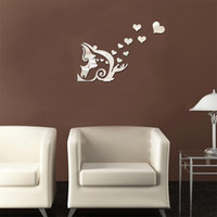 Wholesale Deer Wall Stickers Decal - 3D Deer Wall Stickers Home Wall Decals Creative Style Angels Pick Stars Mirror Decorative Wall Stickers