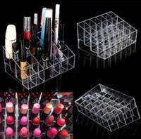 acryl make-up-organisatoren großhandel-Acryl 24 Lippenstifthalter Display Ständer Cosmetic Organizer Make-up Fall Make-up Veranstalter e Display Ständer Rack Halter KKA2379