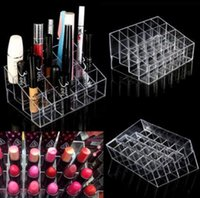 Wholesale acrylic lipstick resale online - Clear Acrylic Lipstick Holder Display Stand Cosmetic Organizer Makeup Case makeup organizer e Display Stand Rack Holder KKA2379