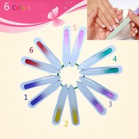 Wholesale Small Nail Files Wholesale - Wholesale- small Professional Glass Buffer Durable Crystal Nail Art File sanding Buffers Assorted 6 Colors Manicure Beauty Device Tools