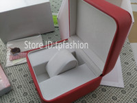 Wholesale Gift Paper Storage - Classic Luxury Original Watch Box Book Paper Card Top Gift Jewelry Bracelet Bangle Display PU Leather Red Storage Case Pillow 3034