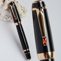 Wholesale Gold Nib Fountain Pen - High Quality Luxury MB Bohemia Black and Golden Medium Nib Fountain Pen Business Pen Gold Clip with Red Stone