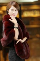 Wholesale Haining Fur - Fur shawl 2016 new Haining fox fur cloak coat was thin imitation mink fur shawl cloak female 1 pcs