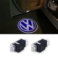 vw pasaport kapısı toptan satış-LED Araba Kapı Hoşgeldiniz Işık Lazer Araba Kapı Farı Projektör Logosu Volkswagen VW Passat B5 B5.5 Phaeton 2005-2012 Için Lamba Amp ...