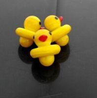 Wholesale Cute New Nails - New Arrivals ! Glass Carb Cap for Grail Quartz Nail Little Yellow Duck Like Cute Shape Quartz Banger Nail domeless nail water pipe bongs