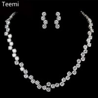 Wholesale Tennis Earrings Necklace - LUOTEEMI Free shipping Brand New Tops Fashion Luxury Sparkling AAA Cubic Zirconia Wedding Jewelry Bridal Tennis Earring Necklace Set