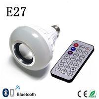 lâmpadas de música bluetooth venda por atacado-E27 Lâmpada LED Inteligente RGB Lâmpada Sem Fio Bluetooth Lampada Speaker Lamparas RC Ampola 85 V-265 V Bombillas Música Br ...