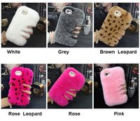 Wholesale Cover Note Rabbit - Luxury Real Rabbit Fur Case Smooth Touch Hair Women Lady Bling Diamond Back Cover for iPhone 7 6s 6 Samsung S7 Note 5
