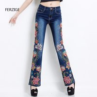 Wholesale Stretch Women Jeans Bell Bottom - FERZIGE 2017 Women Jeans with Embroidery High Waist Luxury Denim Pants Manual Embroidered Bell Bottom Stretch Rhinestones Beads