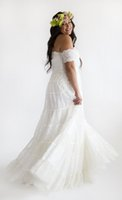 cascade mix - chic bohemian plus size wedding dresses mix matched lace and embroidery cascades down the body strapless neckline sweep train