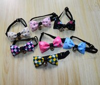 Wholesale Plaid Apparel - Pet Dog Neck Tie Cat Dogs Bow Ties Bells Headdress Adjustable Collars Leashes Apparel Christmas Decorations Ornaments wa3545