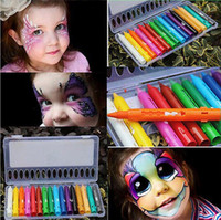 Wholesale Drawing Pencil Wholesale - 16 Colors Face Painting Pencils Splicing Structure Face Paint Crayon Christmas Body Painting Pen Stick For Children Party Makeup