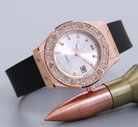 Wholesale Diamond Silicone Quartz - Rose Gold Diamond Quartz Watch Women Ladies Famous Brand Luxury Golden Wrist Watch Silicone Strap Female Clock Montre Femme Relogio Feminino