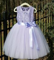 Wholesale Little Girls Dresses Purple - 2017 NEW Light Purple Flower Girl Dresses With Bow High Neck Floor Length Tulle Little Kids Communion Dress