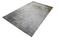 Wholesale bedroom border - Light Gray Patchwork Cowhide Rug Squares Classic Design Rug with Border