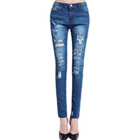 Wholesale Wholesale Stretch Womens Jeans - Wholesale- New 2017 Hot Fashion Ladies Cotton Denim pencil Pants Stretch Womens Bleach Ripped Skinny Jeans Denim Jeans For Female