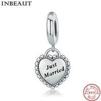 ingrosso braccialetti sposati-New Trendy Wedding Fare gioielli in argento sterling 925 Just Married Charm cuore misura bracciale Pandora femminile regalo di compleanno