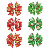 Wholesale Christmas Grosgrain Ribbons - 3 inch Christmas Snow Flake Santa Claus Grosgrain Ribbon Bows WITH Clip gingerbread Snowman Baby Girl Hair Clips Accessories KFJ106