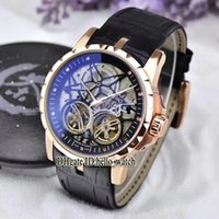 Wholesale Double Tourbillon - AAA Quality Brand Excalibur 46 Double Tourbillon Black Dial Skeleton RDDBEX0395 Men's Watch Rose Gold Case Leather Strap Gents Sport Watches