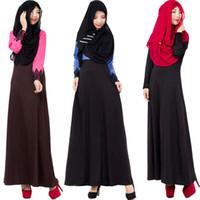 Wholesale Wholesale Islamic Dresses - 2017 Muslim Long Dress Embroidery Sleeve Female Big Yards Arab Women Robe Islamic Dress Female Long Sleeve Lace India Dress 3 Color C19L