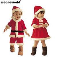 Wholesale Wholesale Boys Dress Coats Winter - Wholesale- WEONEWORLD 2017 Kids Winter Baby Christmas Clothing Sets Boy Coat and Pant Girl Dress Children Santa Red Suit Novelty Costume