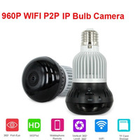 Wholesale Two Bulb Lamp - 360 Degree WIFI lamp bulb Hidden IP camera HD 960P LED light panoramic camera Home Security Smart Camera two way communication Nanny Cam