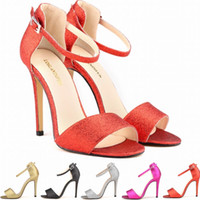 Wholesale Toe Europe Sandals - Europe Style Ladies Women Sandals Shoes Girls Party Toe Bridal Sequined High Heels Shoes Shine Sandals US SIZE 4 5 6 7 8 9 10 11 D0011