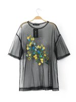Wholesale Element T Shirt M - Fashion Eelgant Lace Summer Lady Embroider gauze element Patchwork Perspective Design Ladies Short-sleeved Tops Female round collar T-shirt
