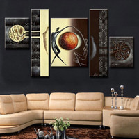 Wholesale Wall Art Sets Cheap - Hand Painted canvas oil painting Abstract Canvas Wall Art 5Pcs Home Decor Picture Set large cheap abstract couple canvas art for living room