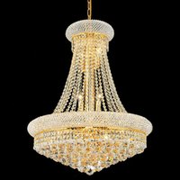 Wholesale big halls - Brilliant big crystal chandelier, Gold or Silver empire chandelier light