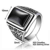 Wholesale Antique Silver Ring 925 - ashion Jewelry Rings Aceworks Retro Black Stone 100% 925 Sterling Silver Metal Europe Rings Men Wedding Bridal Fine Jewelry Antique Silve...