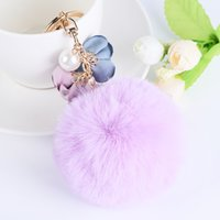 Wholesale metal handmade car - Imitate Fur Ball Pompon Keychain Handmade Flowers Fur Pompons Keyring Car Key Chain Chaveiro Pearl Pom Pom Keychain
