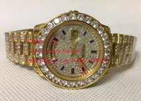Wholesale Eta Diver - Luxury High Quality Watch 36mm DAY DATE 18K Rose Gold Full Diamond Dial Diamond bracelet Swiss ETA 2836 Movement Automatic Mens Watches