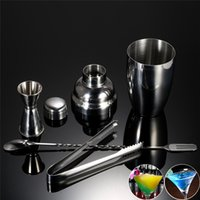 Wholesale Drink Mixer Kit - 4 pcs Stainless Steel Bar Set 250ml Cocktail Shaker Mixer Spoon Set with Jigger Ice Tong Drink Bartender Kit Wine Bar Tool Free Shiipng