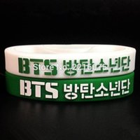 Wholesale green and white even mix K POP BTS wristband silicone bracelets