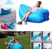 Wholesale Summer Fast Inflatable Camping Sofa banana Sleeping Lazy Chair Bag Nylon Hangout Air Beach Bed Chair Couch Lay Bag Inflatable Sofa Free DHL