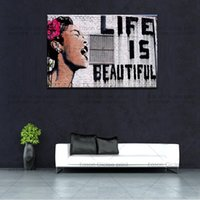 Wholesale wall street canvas - Banksy Street Art Life Is Beautiful Canvas Graffiti Urban Picture Wall Decor Art Canvas Art Painting Home Decor Wall Picture for Living Room