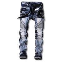 Wholesale punk rock pants zippers - Wholesale- Men Jeans Ripped Biker Hole Denim robin patch Harem Straight punk rock jeans for men Pants