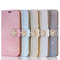 Wholesale Leather Id Flip Case - Luxury Bling Stone Wallet Leather For Iphone 7 Plus 6 6S Galaxy S8 Flower Diamond Deluxe Cover Chromed Card ID Slot Sparkle Flip Case