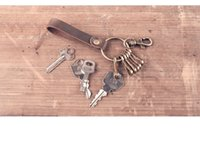 Wholesale Classic Crazy Horse - New arrival lady men unisex crazy-horse split cowhide leather key chains house keeper car key carabiner