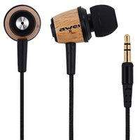 Wholesale Mobile Fone - newest Original wired Super Bass Stereo Earphones AWEI Q9 3.5mm Fone De Ouvido Wood Style In Ear MP3 Music Earphones for Xiaomi Mobile Phone