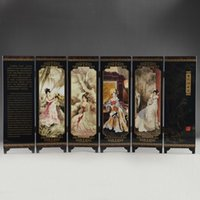 Wholesale Nice Old - CHINA LACQUER WARE OLD HAND PAINTING BELLE COLLECTIBLES BEAUTY SCREEN NICE FOLD#9925