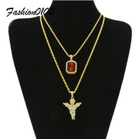 Mens Hip Hop Schmuck Set Iced Out Bling Micro Square Crystal mit voller Rhinestone Angel Wing Anhänger Halskette Set 24