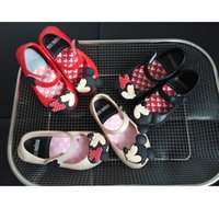 Wholesale Little Girls Heels - DHL 13-15.5cm inside size mini melissa style Mickey Minnie kids toddler baby little girls crystal jelly shoes children beach Sandals