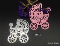 Wholesale Diy Cute Card - Cute baby carriage metal cutting dies stencils Scrapbook Card picture frame envelope decorative cute lace steel cut dies DIY