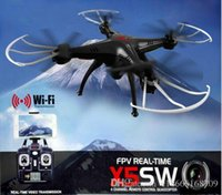 Wholesale SYMA X5SW X5SW WIFI RC Drone Dron GHz CH Real Time HD FPV Camera RC Helicopter Drones Axis Quadcopter Gyro Quad copter colors