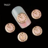 Wholesale Nail Art Watch - Wholesale-New 10Pcs 3D Gold Clock Watch Decorations Nails Alloy Studs Charms DIY Nail Art Supplies TN327