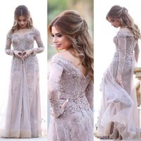 Nude Grey Evening Dresses 2017 Long Sleeves A Line Organza Prom Dress Lace Appliqued Длинные официальные платья в Дубае