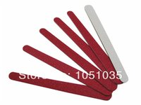 Wholesale Disposable File - Wholesale- Free Shipping red wooden nail file mini emery board disposable nail file wood emery board 500 pcs